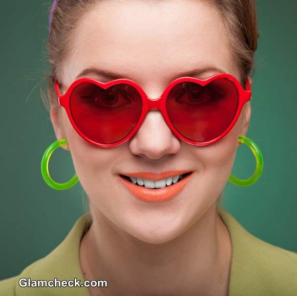 Retro Heart Shaped Sunglasses Red