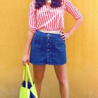 Street Style Fashion - wearing denim skirt with striped shirt