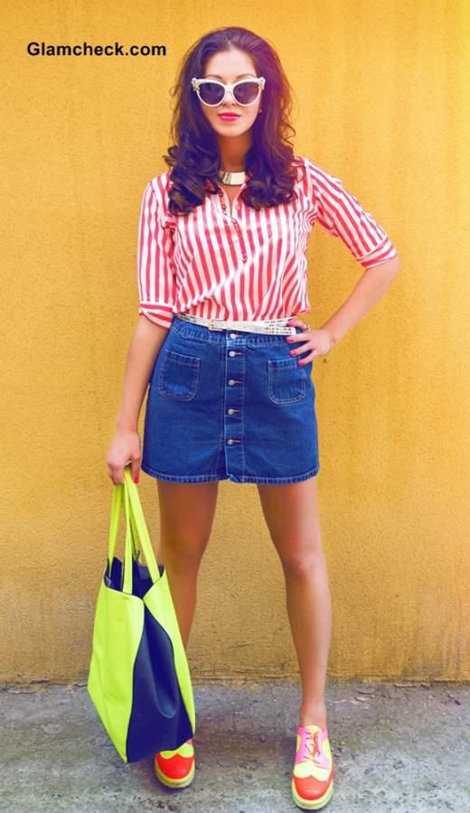 Street Style Fashion - wearing denim skirt with striped shirt