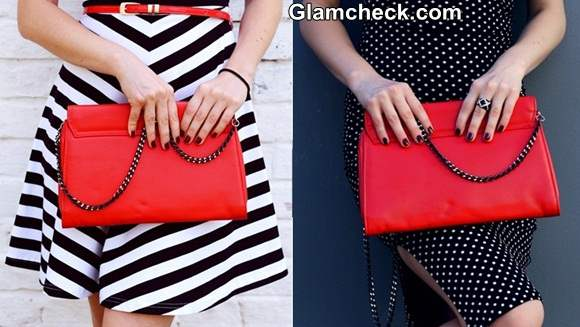 Style Tip - Accessorize Black and White Outfit with Red Clutch