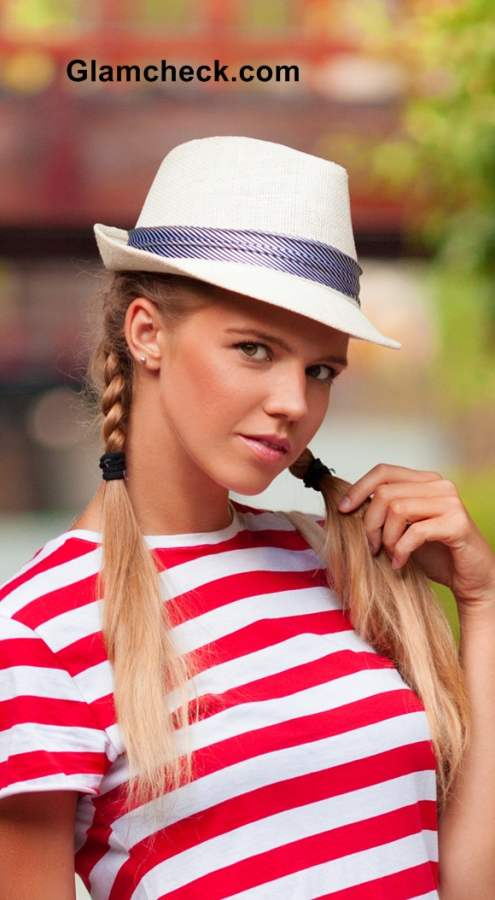 school girl hairstyle two-braid plaits