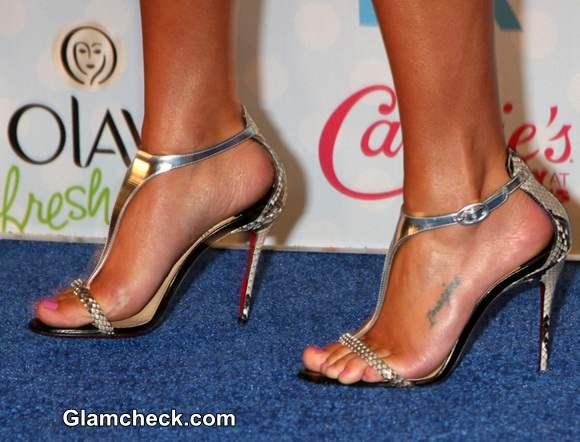 silver Christian Louboutin heels 2014 Lea Michele