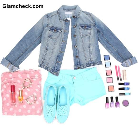 Combination Look - Denim jacket and Linen shorts