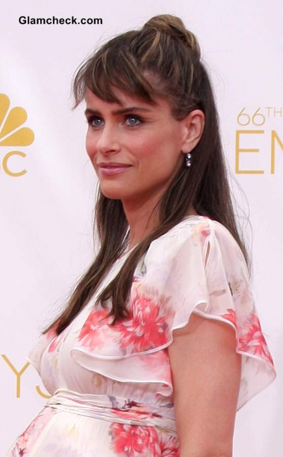 Get Amanda Peets Half up Bun Hairstyle - at the 2014 Primetime Emmy Awards