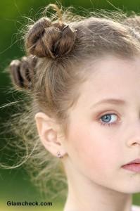 Multiple Mini Buns Hairstyles for Little Girls