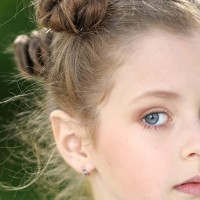 Multiple Mini Buns Hairstyles for Little Girls