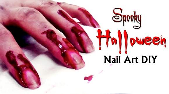 Spooky Halloween Nail art DIY Blood on my Nails and Hand