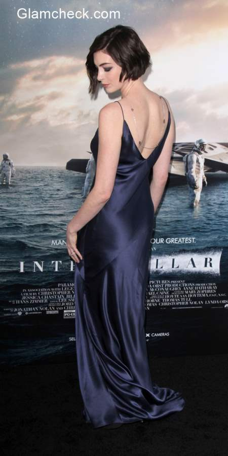 Anne Hathaway wows at the Interstellar premiere in Richard Nicoll and James Banks Designs