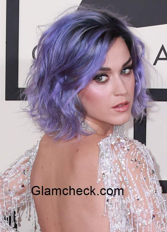 Katy Perry Sports Lavender Hair Color During The 57th Annual Grammy