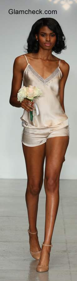 lace detail satin cami with matching shorts