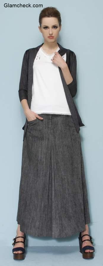 Grey Cardigan with Maxi Skirt - Fall Fashion