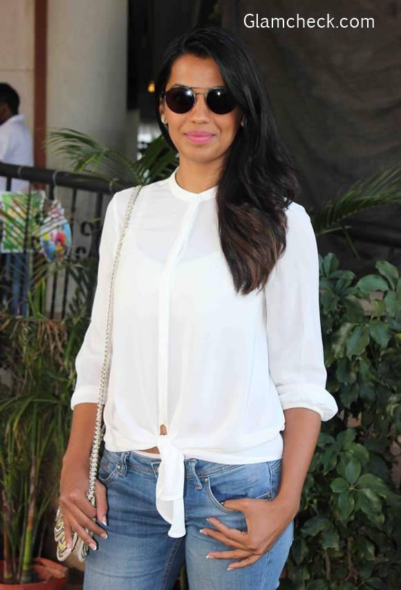 Knotted Shirt look with Denims