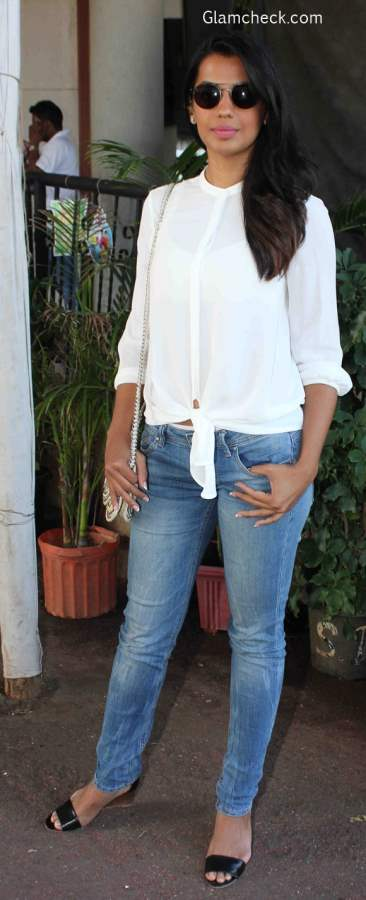 Knotted Shirt with Denims
