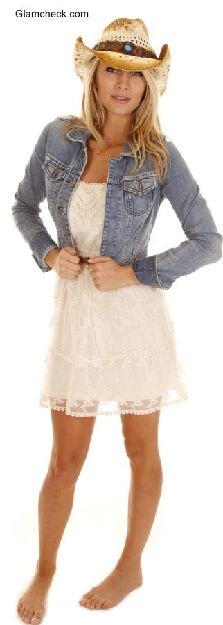 White Dress with Denim Jacket