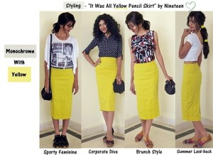 Yellow Pencil Skirt - Styling with Monochrome