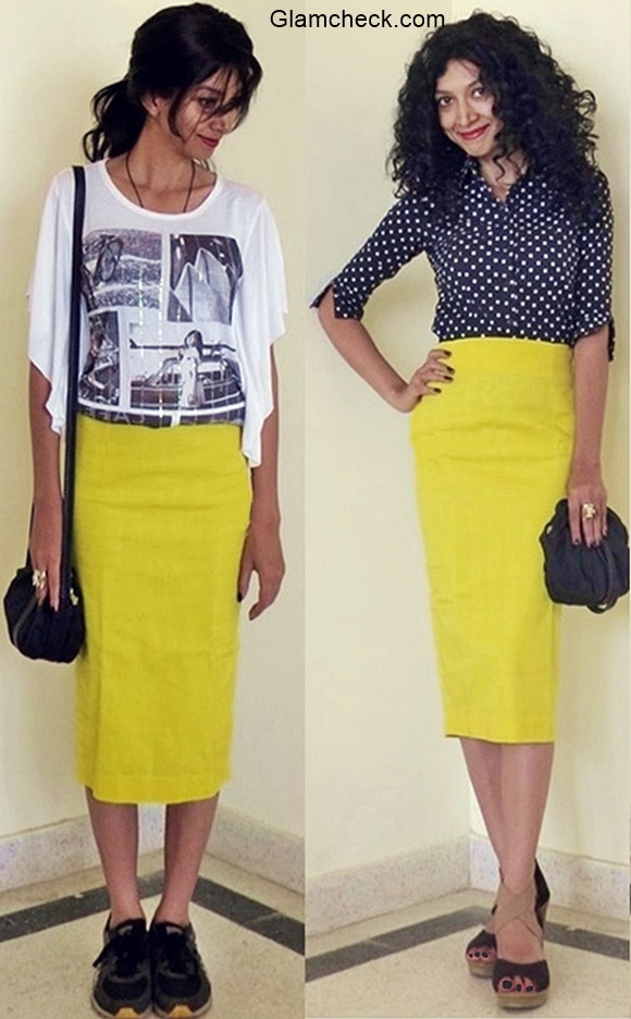 Yellow Pencil Skirt with Monochrome Top