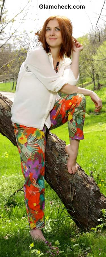 Floral Pants with White Shirt