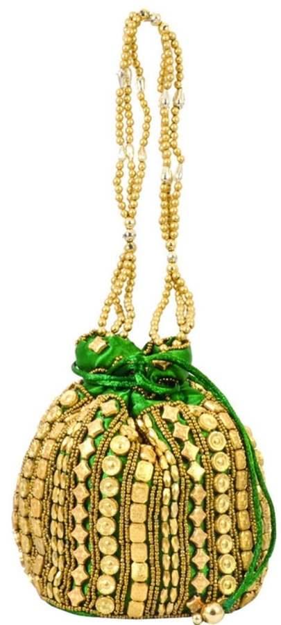 Green Golden Potli Pouch