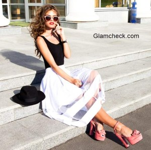 Styling White Midi Skirts as Street Fashion