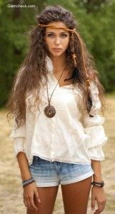 White Top with Denim Shorts  – Get the Boho Chic Style