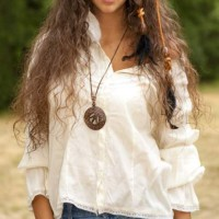 White Top with Denim Shorts - Get the Boho Chic Style