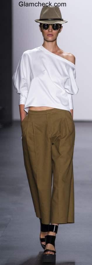 Androgynous Look Khakhi Culottes White Shirt