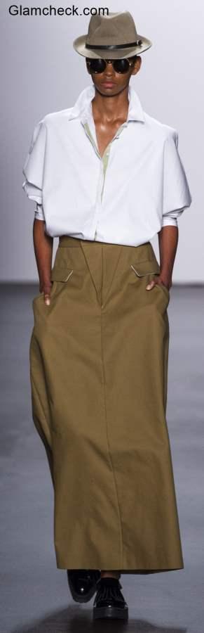 Androgynous Look Khakhi Skirt White Shirt