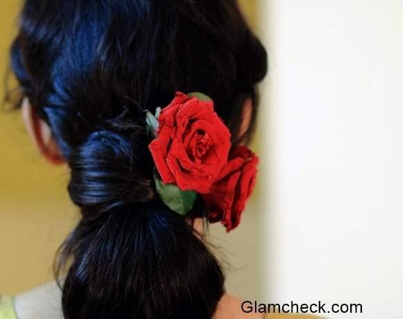 Bun Hairstyle with Saree