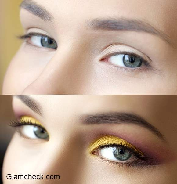 DIY Golden Yellow Eye Makeup