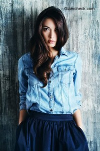 Denim Shirt with Midi Skirt for Street Chic Look