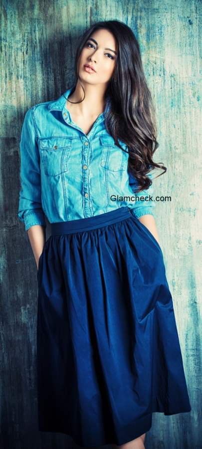 Denim Shirt with Skirt