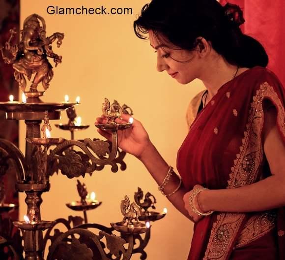 Diwali Hairstyle with Saree