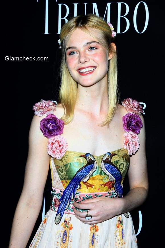 Elle Fanning wears whimsical Gucci at the Trumbo Premiere