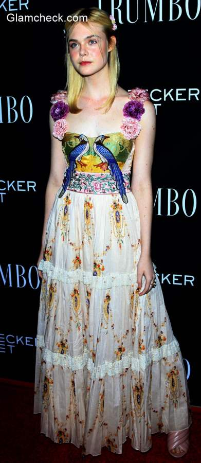 Gucci Gown Elle Fanning at the Trumbo Premiere