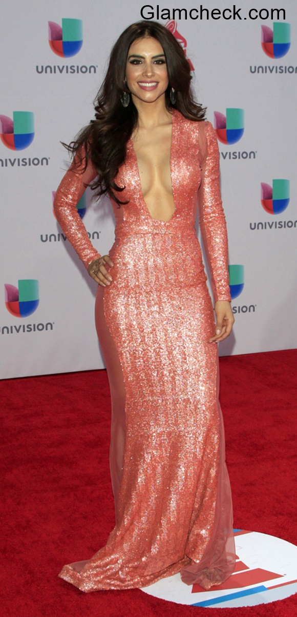 Jessica Cediel in Shimmery Gown at 16th Latin Grammy Awards