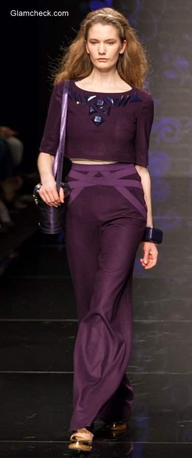 Purple Crop Top Formal Festive Wear