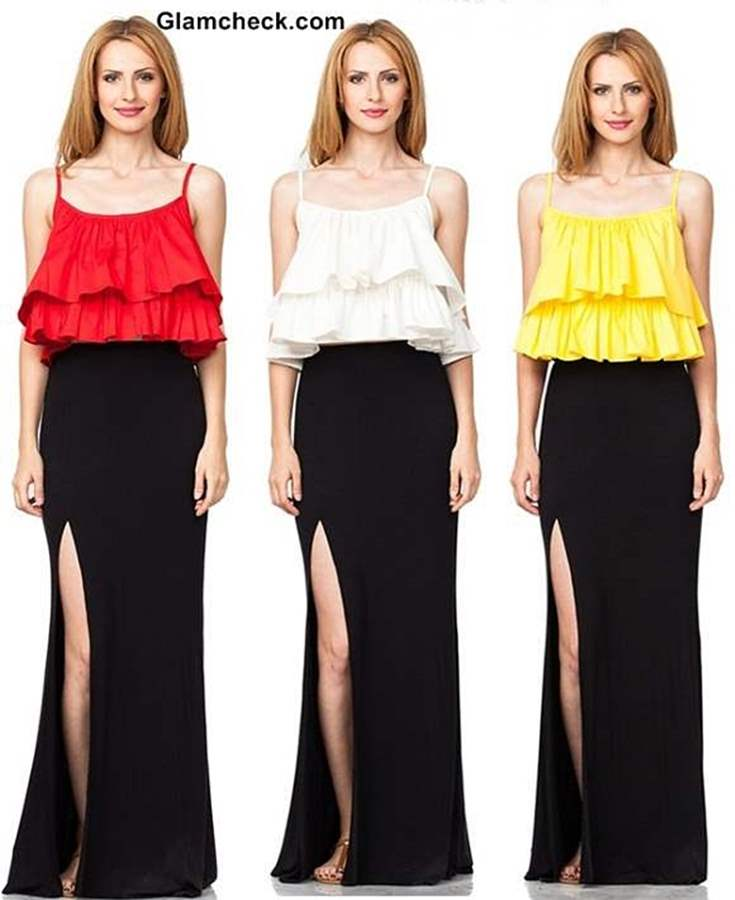 How to Wear Maxi Skirt with Crop Top Sexy Look