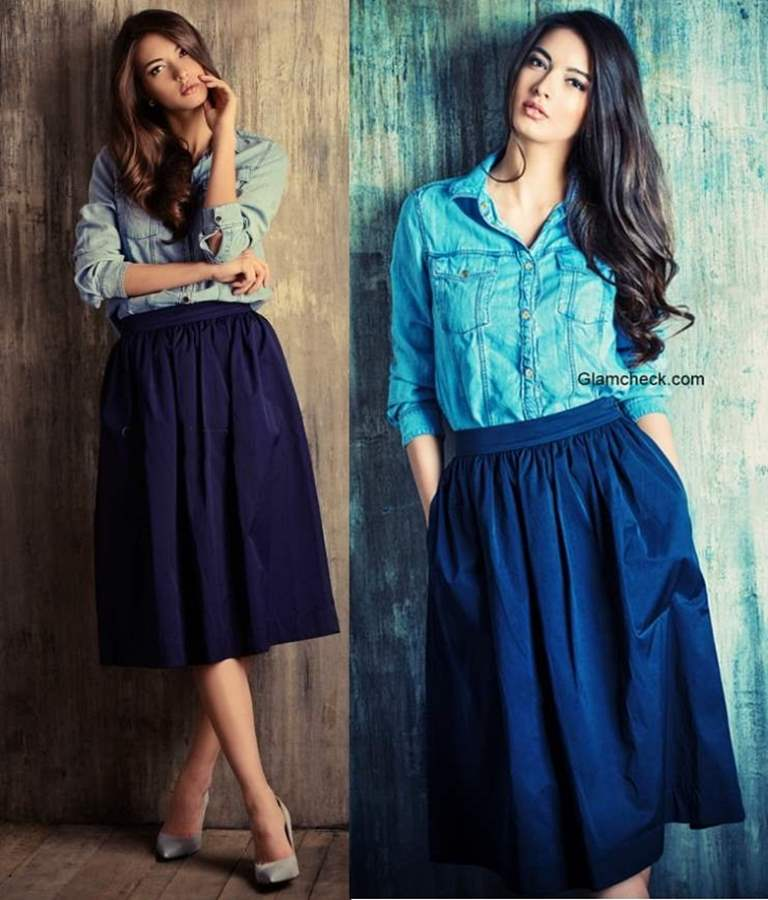 How to wear long denim shirt with Skirts