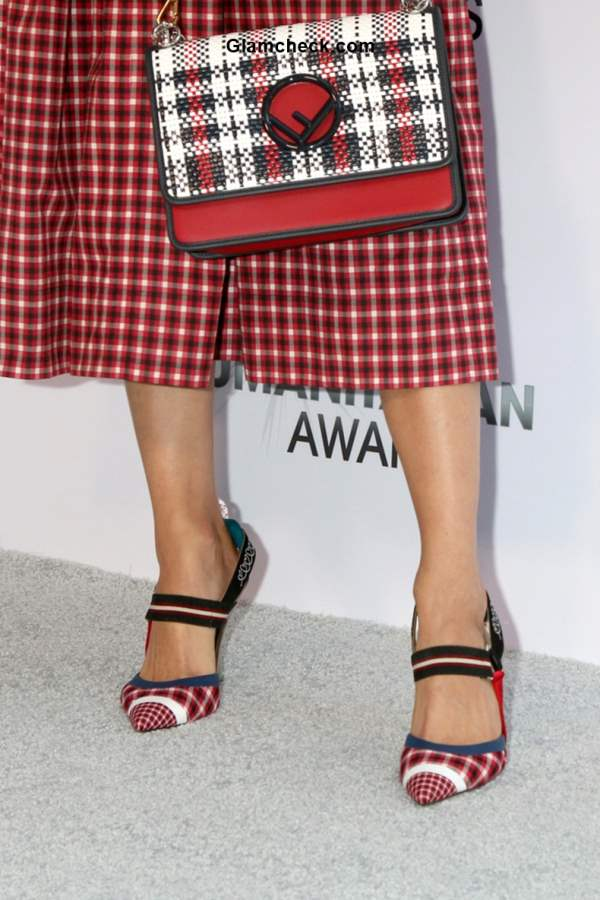 Emmy Rossum 2018 Checkered look at Annual Sports Humanitarian awards