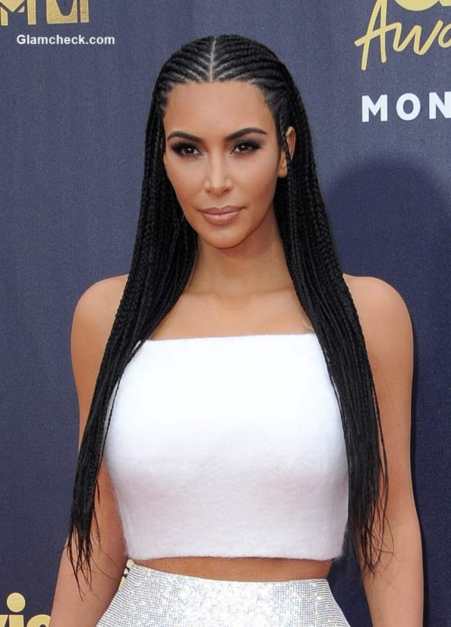 Kim Kardashian Cornrow hairstyle 2018 MTV Movie And TV Awards