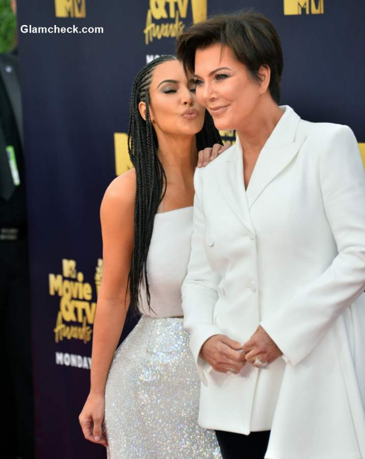 Kim Kardashian with her mother at 2018 MTV Movie And TV Awards
