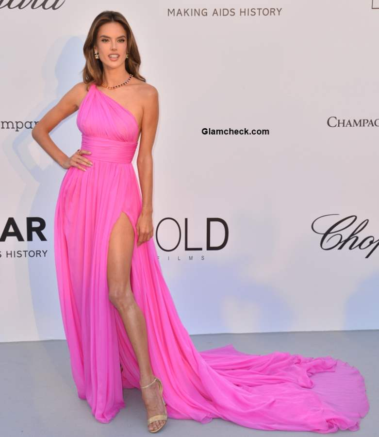 Alessandra Ambrosio in Tommy Hilfiger Thigh High Slit Gown