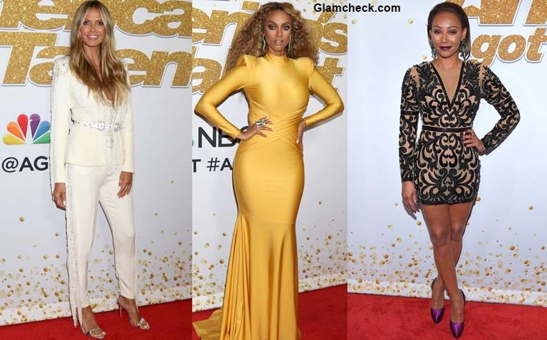 Heidi Klum Tyra Banks Mel B at Americas Got Talent Red Carpet