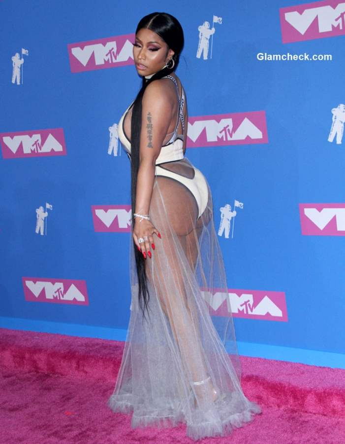 Nicki Minaj sheer dress at 2018 MTV Music Awards