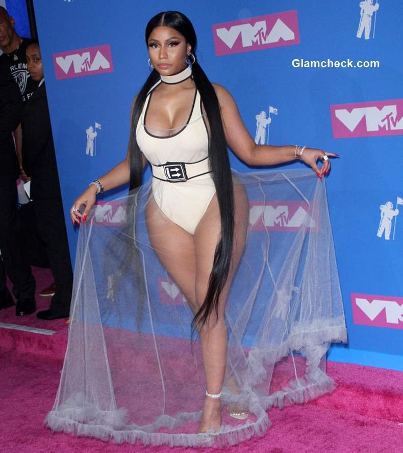 Nicki Minaj sheer gown at 2018 MTV Music Awards