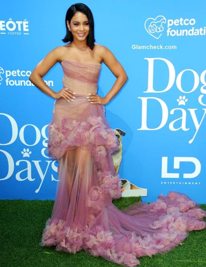 Vanessa Hudgens Pink Gown 2018 Dog Days Premier