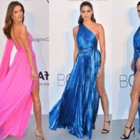 Victorias Secret Angels in Daring Thigh High Slit Gowns