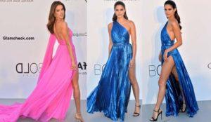 Victorias Secret Angels in Daring Thigh High Slit Gowns