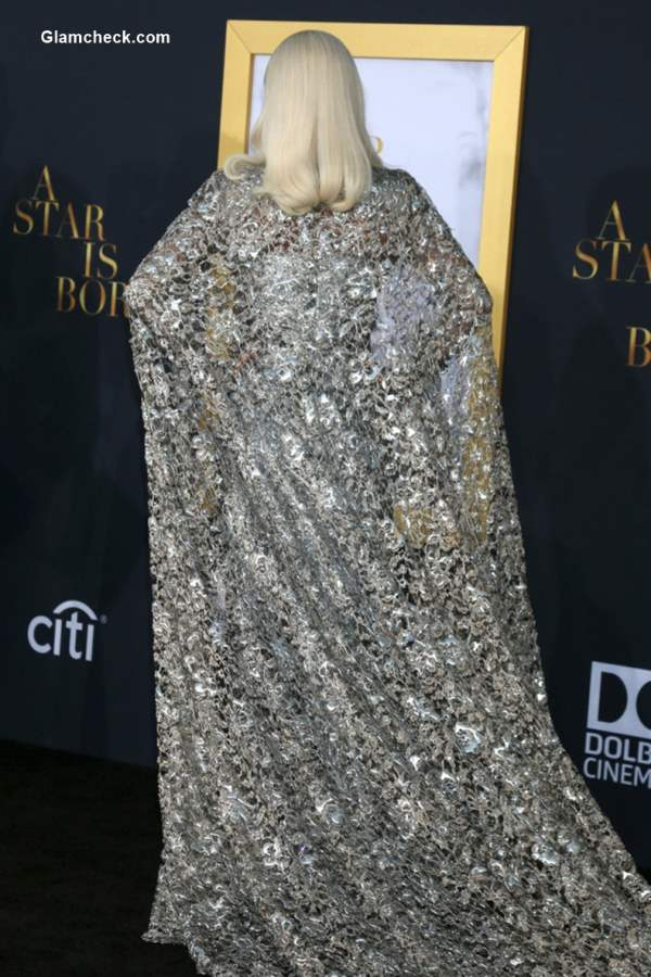 Lady Gaga Silver Metallic Givenchy gown at A Star is Born LA Premier