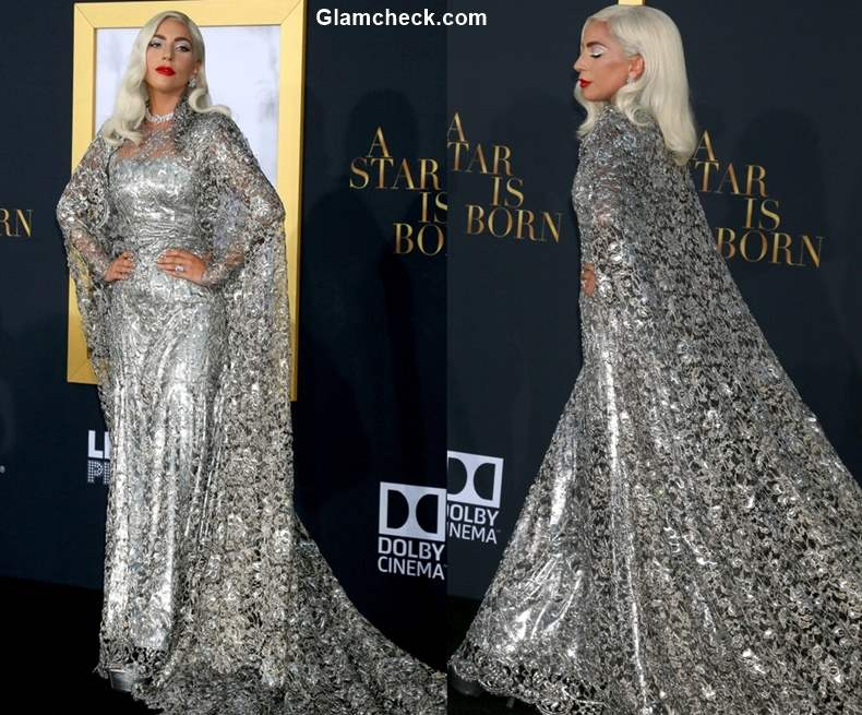Lady Gaga Silver gown at A Star is Born LA Premier